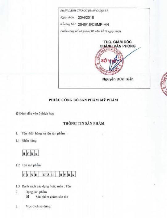 Phiếu công bố sản phẩm tinh dầu Hyra - ảnh từ web công ty