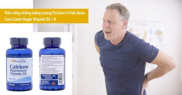 Viên uống chống loãng xương Puritan's Pride Bone Care Canxi Magie Vitamin D3 + K